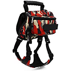 We'R Home Dog Travel Bag,Dogs Self-Backpack Portable Pets Supplies Breathable Hound Camping Pet Backpack Carrier Travel Walking Bag,Red,XL