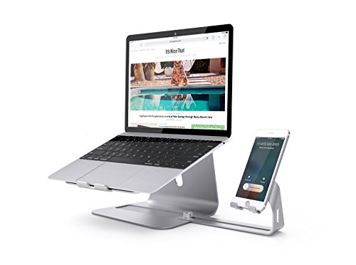 Gomffer 2 in 1 Laptop and Phone Stand Holder for Apple MacBook and All Notebooks, iPhone Series, Silver
