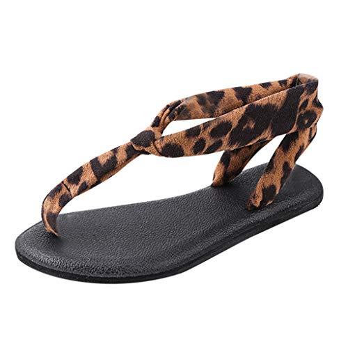 2019 New Women's Granola Fisherman Sandal Vintage Ladies Leopard Toe Single Belt Buckle Sawdust Flat Sandals Brown
