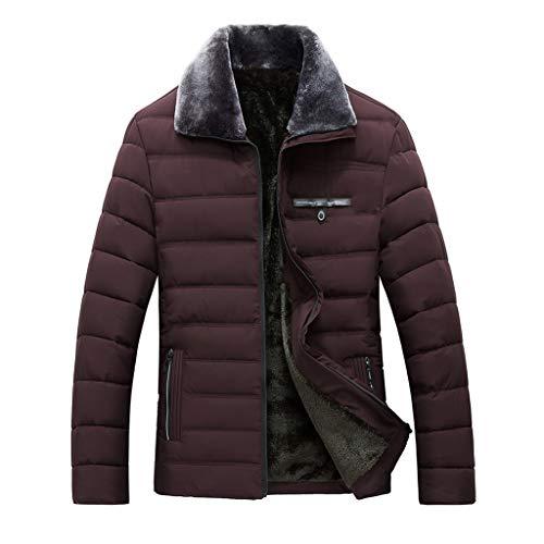 - Dacawin_Men Coats Winter Sale Men's Warm Cotton Coat Fashion Plush Lapel Zipper Thickening Jacket Casual Solid Color Classic Style Outwear