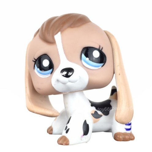 Pet Shops Littlest Puppy Dog White Black Tan Blue Eye Cow Print Baby Beagle #2207 (Black And White Great Dane With Blue Eyes)