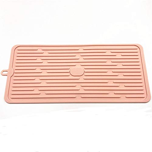 Feccile Kitchen 1PC Ribbed Design Sink Dish Drying Mat - Quick Draining - Thick & Soft Silicone-for Stemware, Wine Glasses, Mugs, Bowls and Dishes -44×20×0.5CM (Pink) from Kitchen Storage-Feccile