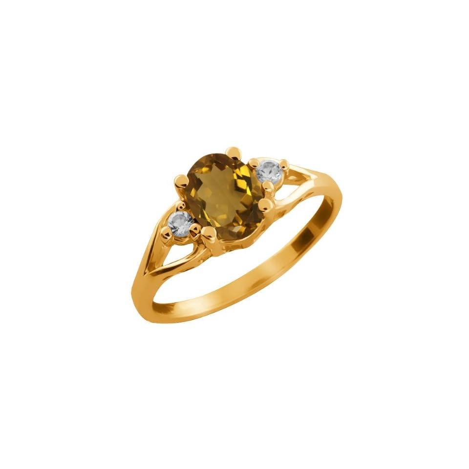 1.23 Ct Oval Whiskey Quartz and White Topaz 18k Yellow Gold Ring
