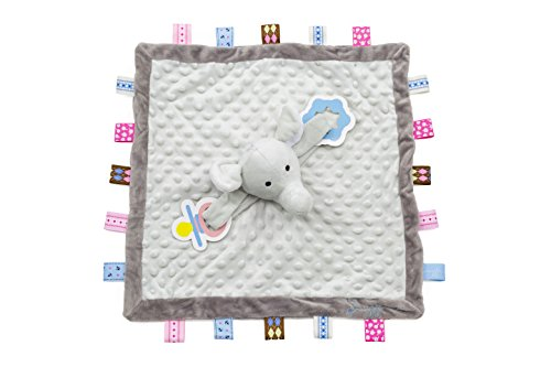 - Snuggin - Tag Blanket with Stuffed Elephant Plus Pacifier/Teether Holders - for Newborn to 6-18 Month Old Boy or Girl - Lovey Plush Sensory Toy Soothes and Provides Security for Infants (Gray)