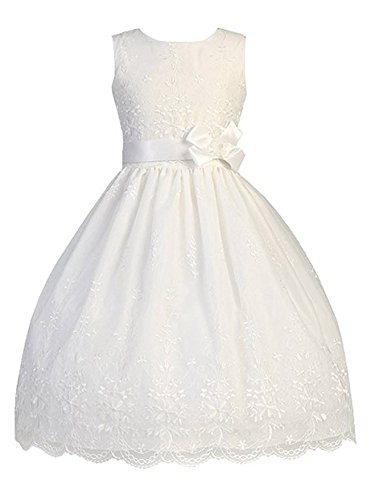 White Embroidered Organza Communion Dress with Ribbon (8) for $<!--$70.98-->