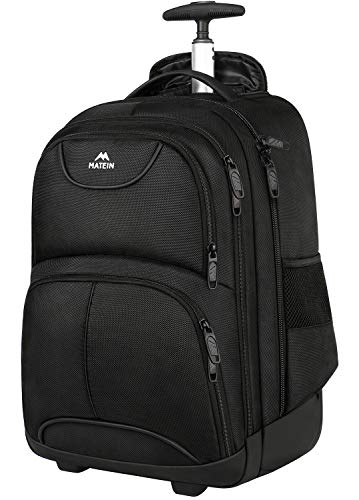 Rolling Backpack, Matein Waterproof College Wheeled Laptop Backpack for Travel, Carryon Trolley Luggage Suitcase Compact Business Bag School Student Computer Bag for Men fit 15.6 Inch Notebook,Black (Hard White Ball Under Skin On Balls)