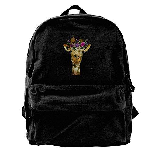 Giraffe Hobo (Funny Flower Giraffe Animal Unisex Vintage Canvas Backpack Travel Rucksack)