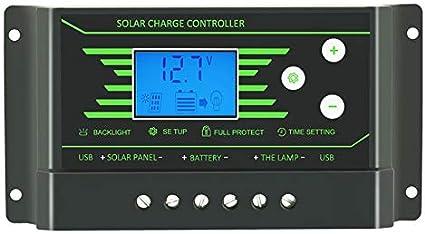 VCB Controlador de Carga Solar 30A PWM 12V 24V Controlador de regulador Solar LCD retroiluminado - Negro