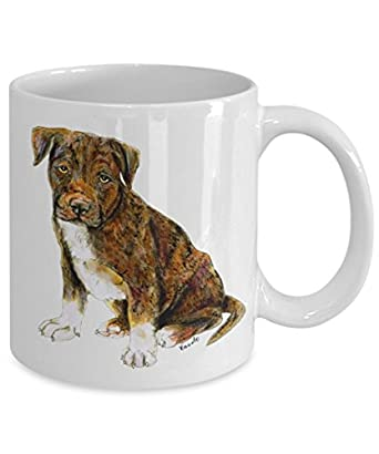 Brindle Pit Bull Puppy Dog Mug - Style No.8 - Cool Ceramic Pitbull Coffee Cup (11oz)