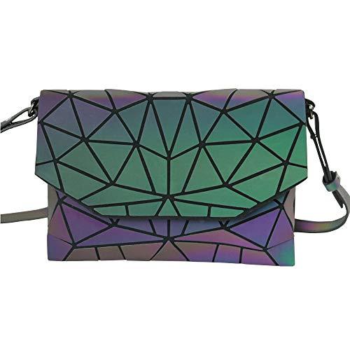 Geometric Shard Lattice Crossbody Metal Chain Shoulder Messenger Luminous Bags for Women PU Leather Holographic Purse (colorful1) (Handbag Link Metal Shoulder)
