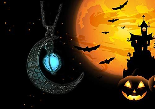 Moda Moon Ragazze Regalo Di Luna Crescente Collana Halloween Besteel Per Donne Luminosa Gioielli xq7qT8X