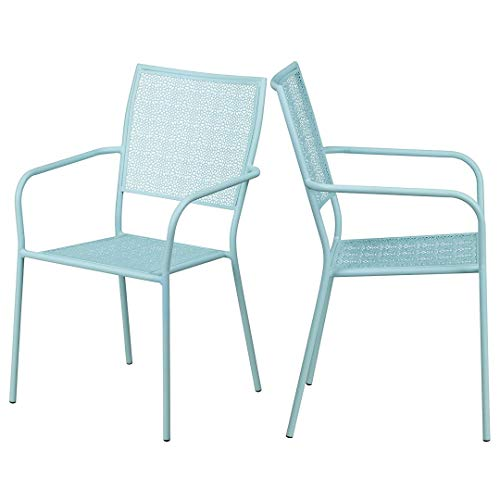 (KLS14 Modern Design Lightweight Stacking Patio Chair Integrated Arms with Transparent Flower Seat and Back Patterned Tubular Steel Frame Indoor-Outdoor Home Furniture Decor - Set of 2 Soft Blue #2112)
