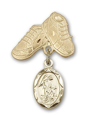 ReligiousObsession's 14K Gold Baby Badge with Guardian Angel Charm and Baby Boots Pin