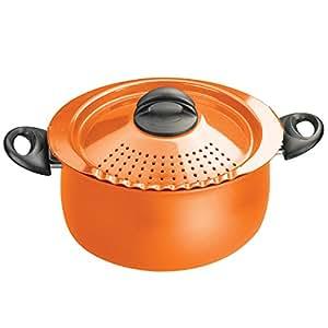bialetti 07258 oval 5 quart pasta pot with strainer lid orange kitchen dining. Black Bedroom Furniture Sets. Home Design Ideas