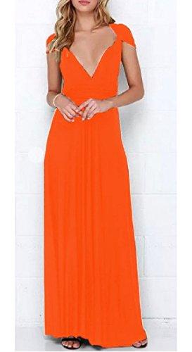 Robe Confortable Des Femmes Multivoies Bandage Maxi-parole Longueur Robe De Soirée Orange,