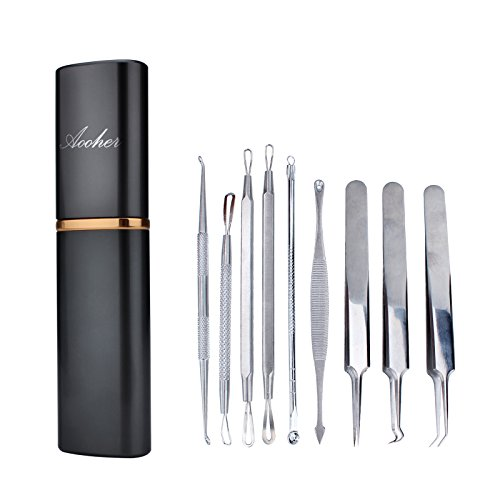 Blackhead Remover Acne Tool Kit , Aooher Professional Stainless Steel Comedone Extractor Instrument Tool Set for Curing Facial Blemish Whitehead 9PCS