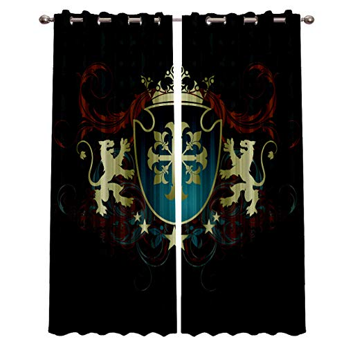 Home Decor Blackout Curtains Room Darkening Curtains Shield Lion Crown Window Treatment Thermal Insulated Curtain for Living Room Bedroom 2 Panels Set 52 x 52 Inch ()