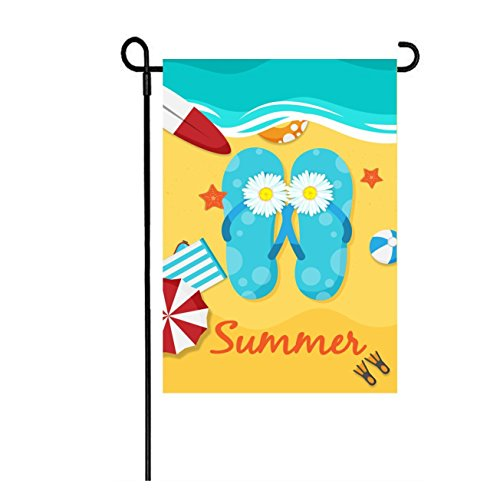 LHSION Summer Beach Garden Flag 12.5 x 18 - Flip Flops Garden Flags Decorative Double Sided Flag for Outdoor Summer Decoration