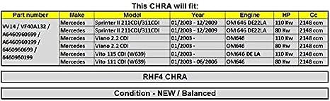 GOWE cartucho de Turbo CHRA para turbo CHRA láser vv14 vf40 a132 6460960699 6460960199 láser para Mercedes Sprinter II Viano Vito X8: Amazon.es: Bricolaje y ...