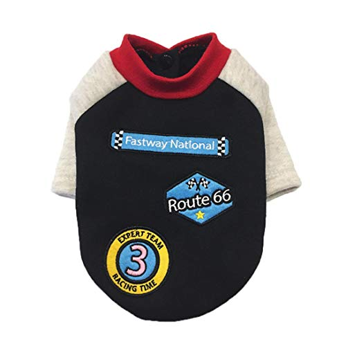 - Dog Winter Shirt, MaxFox Puppy Autumn Round Neck Racing Suits Pet Clothes Cotton Costume Clothing Choth (XL, Black)