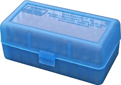 MTM 50 Round Flip-Top Rifle Ammo Box WSSM, 500 S&W (Clear Blue)