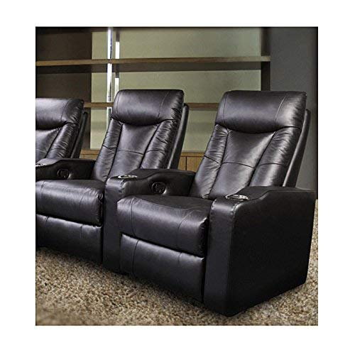 Pavillion Theater Seating - 2 Black Leather Chairs - Coaster Co.