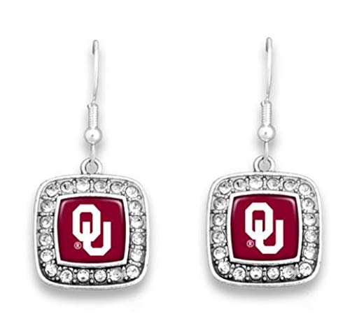 FTH 47274 Oklahoma Sooners Boomers Square Pendant Rhinestone Earrings