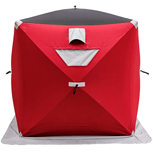 GYMAX Ice Shelter, Portable Ice Tent Pop-up Fishing Shelter with Bag and Ice Anchors