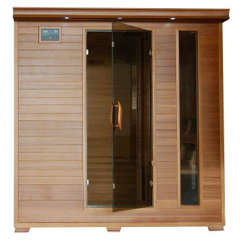 6 Person Sauna FAR Infrared Red Cedar Wood 10 Carbon Heaters CD Player MP3 Color Light Therapy - Heat Wave Great Bear