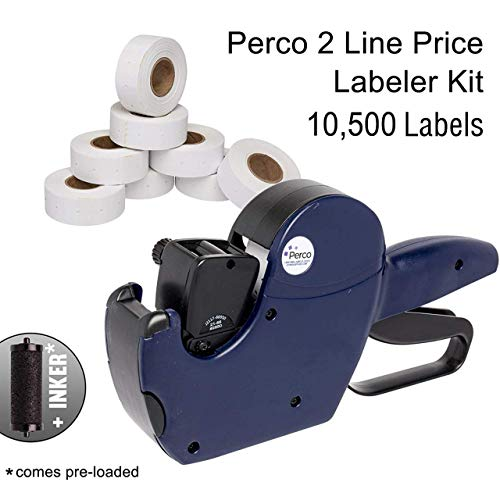 Labels Gun Line (Perco 2 Line Price Gun Kit - Includes 2 Line Pricing Gun, 10,500 White Labels, and Pre-Loaded Ink Roll)