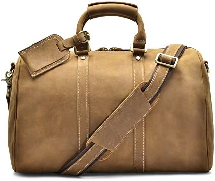 H lssen Duffel Weekender Overnight Travel Genuine Leather Bag