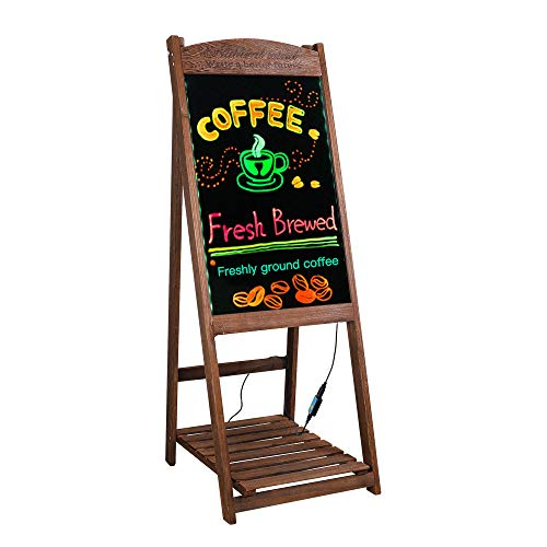 LED Message Writing Board Stand 42'' x 16'' Wood Chalkboard Sign with Display Shelf For Cafe, ()