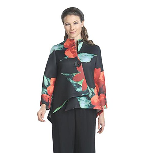 IC Collection Floral-Print Jacket - 7989J (XL) by IC Collection