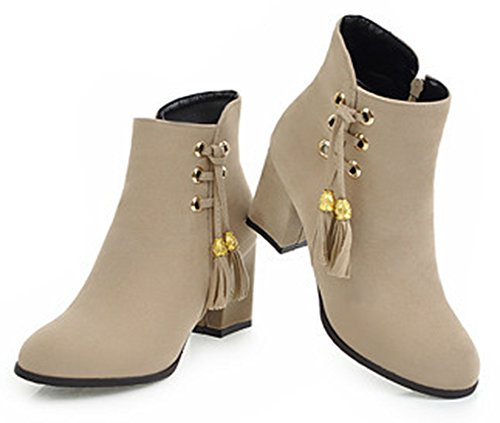 Bottines Bout Boots Franges Chic Beige Eclair Aisun Chunky Low Femme Fermeture Rond 6Yqqwv