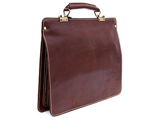 Leather zipped folder executive document folder bag file folder brown shoulder bag folder