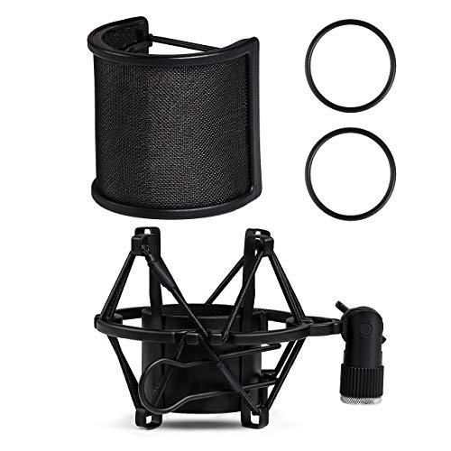 Microphone Mount Suspension - InnoGear Microphone Shock Mount with Pop Filter and Screw Adapter, Adjustable Anti Vibration Suspension Microphone Shock Mount Holder Clip for Diameter of 1.85-2.08inch (47-53mm) Microphones