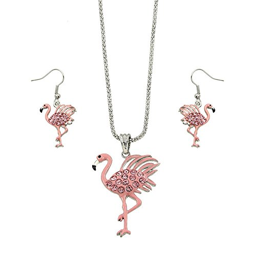 Liavy's Pink Flamingo Fashionable Necklace & Earrings Set - Enamel - Sparkling Crystal - Fish Hook - 18
