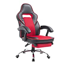 HomCom 921-028RD High Back Race Car Style Reclining Executive Office Chair with Retractable Footrest, Black/Red