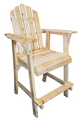 PierSurplus Balcony Tall/Counter High Adirondack Chair with Footrest - Natural Wood Product SKU: PF09104 ()