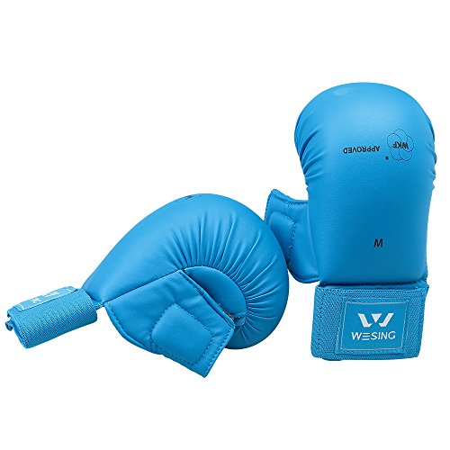 WKF Sparing Karate Gloves With Thumb Protection Blue Red By Wesing (Blue, M)