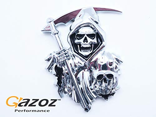 GAZOZ PERFORMANCE 3D Grim Reaper Decal for Any Flat Surface - Chrome Car Decals - Truck or Car Stickers That Feature Custom Chrome Decal of Grim Reaper Skull