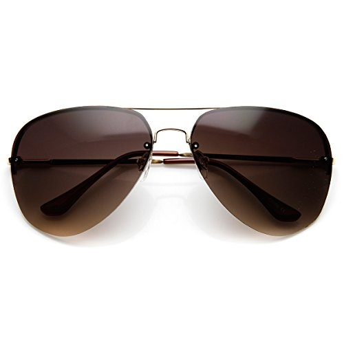 zeroUV - Large Rimless Wire Metal Teardrop Color Tint Aviator Sunglasses (Gold - Color Tint For Best Sunglasses