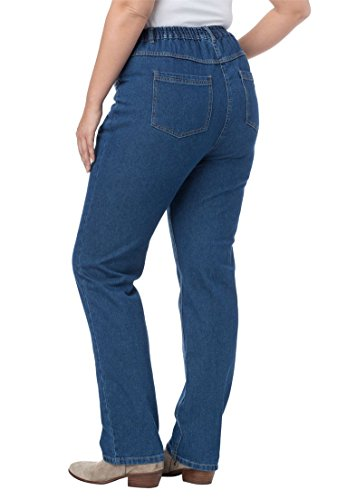 Woman Within Women's Plus Size New and Improved, Back-Elastic, Pure Cotton Straight Leg (Cotton Elastic Waist Jeans)