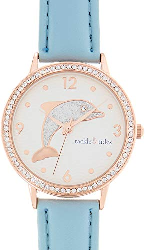 Tackle & Tides Womens Glitter Dolphin Blue Watch Rose Gold Tone/Blue