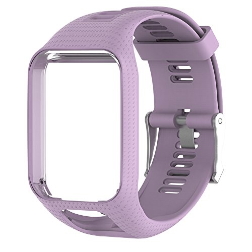 HUVE Silicagel Replacement Watchband Watch Strap 25cm long For TomTom 2/3/Spark/Spark3/Series GPS Watch with Screen Protectors (Lavender) by HUVE