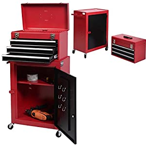 2PC Mini Tool Chest And Storage Cabinet Roller Tool Box Organizer Rolling Garage Mechanics Craftsman Toolbox Portable Drawer Cart