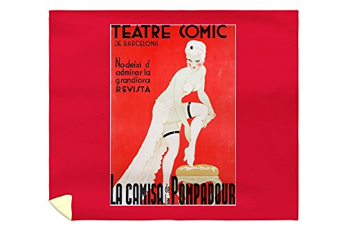 Teatre Comic de Barcelona - La Camisa de la Pompadour Vintage Poster Spain (88x104 King Microfiber Duvet Cover) by Lantern Press