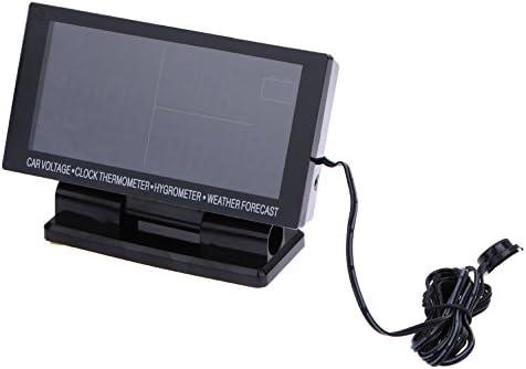 Gowind6 - Reloj Digital con Pantalla LCD y voltímetro para Coche, termómetro higrómetro, previsión meteorológica