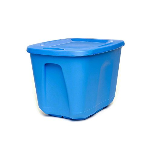 Homz Plastic Storage Tote with Lid, 10 Gallon, Blue, Stackable, 5-Pack]()