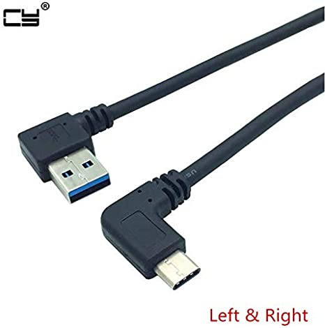 Cable Length: 25cm, Color: Left and Right Computer Cables 90 Degree Left Angle USB 3.0 Type-A Male to90 Degree Right Angle USB3.1 Type-C Male USB Data Sync /& Charge Cable Connector 25cm